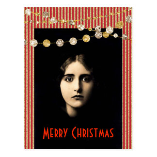 Freaky Christmas With Glitter Gold Red Stripes Postcard