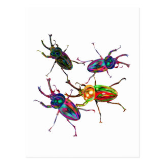 Freaky Cool Rainbow Stag Beetles Postcard