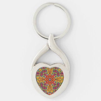 Freaky Tiki Metal Keychains, 4 shapes Silver-Colored Twisted Heart Keychain