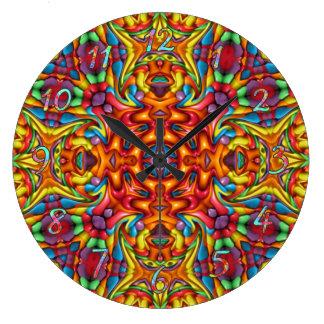 Freaky Tiki Pattern Large Clock