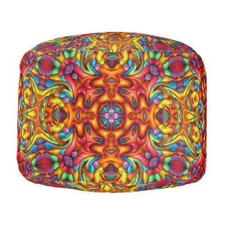 Freaky Tiki Pattern   Round Poufs