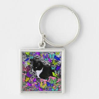 Freckles in Butterflies II - Tuxedo Cat Keychain