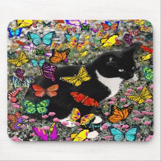 Freckles in Butterflies - Tux Kitty Cat Mousepads