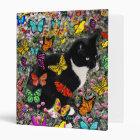 Freckles in Butterflies - Tuxedo Kitty 3 Ring Binder