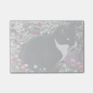Freckles in Flowers II, Black and White Tuxedo Cat Post-it Notes