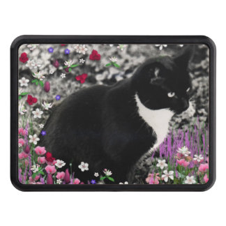 Freckles in Flowers II, Black and White Tuxedo Cat Trailer Hitch Cover