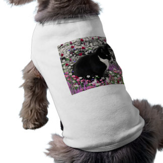 Freckles in Flowers II - Tuxedo Cat Dog Shirt