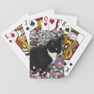 Freckles in Flowers II, Tuxedo Kitty Cat Playing Cards