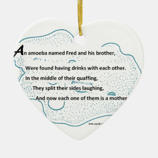 Fred The Amoeba - A SmartTeePants Science Poem Ceramic Heart Ornament