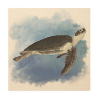 "Fred The Friendly Sea Turtle 12""x12"" Wood Wall Art Wood Canvas"