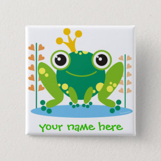 fred the froggy 2 inch square button