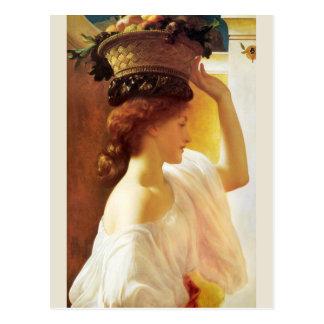 Frederic Leighton Girl with basket of fruit CC0955 Postcard