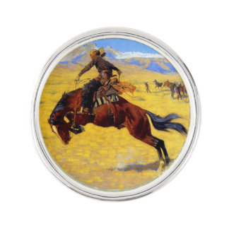 "Frederic Remington Art ""A Cold Morning on the Rang Lapel Pin"