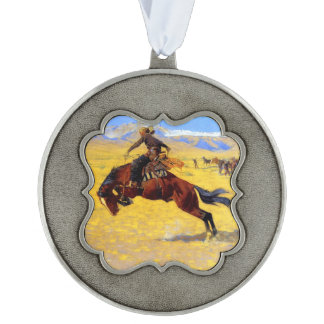 """Frederic Remington Art """"A Cold Morning on the Rang Scalloped Pewter Ornament"""