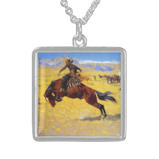 """Frederic Remington Art """"A Cold Morning on the Rang Sterling Silver Necklace"""