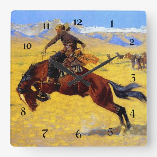Frederic Remington Art - Cold Morning on the Range Square Wall Clock