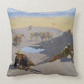 "Frederic Remington Art""Fight For The Waterhole"" Throw Pillow"