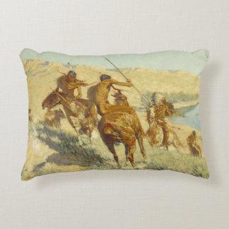 Frederic Remington - Episode of the Buffalo Gun Accent Pillow