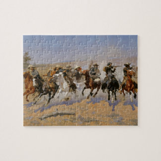 """Frederic Remington Painting """"Dash For The Timber"""" Puzzles"""