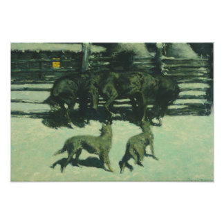 Frederic Remington - The Call for Help Photo Print