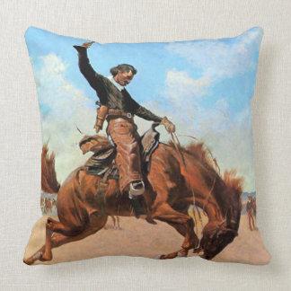 "Frederic Remington Western Art ""Bronco Buster"" Throw Pillow"