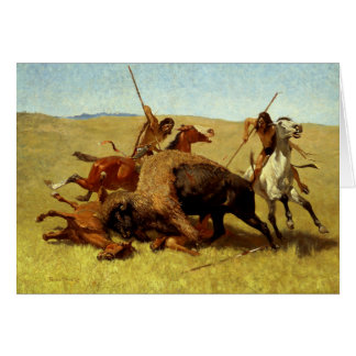 "Frederic Remington Western Art ""Buffalo Hunt"" Card"