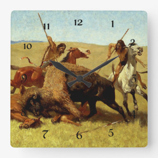"Frederic Remington Western Art ""Buffalo Hunt"" Square Wall Clock"