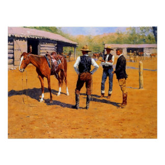 "Frederic Remington Western Art ""Buying Ponies"" Poster"