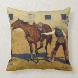 "Frederic Remington Western Art ""His First Lesson"" Throw Pillow"