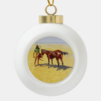 "Frederic Remington Western Art ""Hunted Down"" Ceramic Ball Ornament"