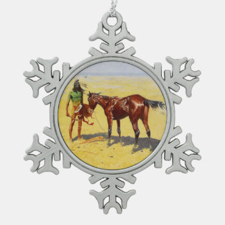 """Frederic Remington Western Art """"Hunted Down"""" Pewter Snowflake Ornament"""
