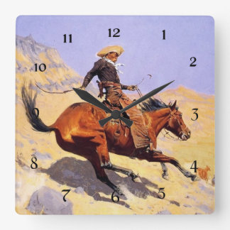 """Frederic Remington Western Art """"The Cowboy"""" Square Wall Clock"""