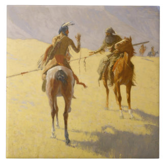 "Frederic Remington Western Art ""The Parley"" Tile"
