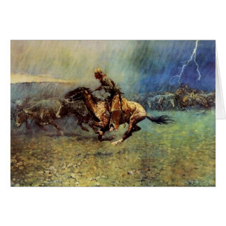 "Frederic Remington Western Art ""The Stampede"" Card"