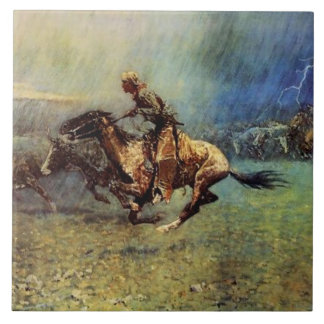 "Frederic Remington Western Art ""The Stampede"" Tile"