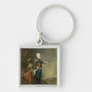 Frederick II as Crown Prince, c.1735 Silver-Colored Square Keychain