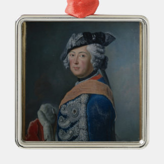 Frederick II the Great of Prussia, after 1753 Silver-Colored Square Ornament