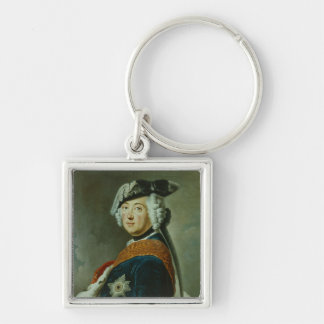 Frederick II the Great of Prussia Silver-Colored Square Keychain