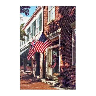 Fredericksburg VA - Street With American Flags Acrylic Wall Art