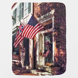 Fredericksburg VA - Street With American Flags Baby Blanket