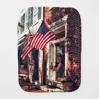 Fredericksburg VA - Street With American Flags Burp Cloth