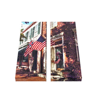 Fredericksburg VA - Street With American Flags Canvas Print