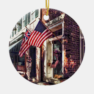 Fredericksburg VA - Street With American Flags Ceramic Ornament