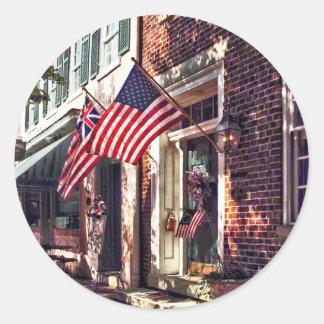 Fredericksburg VA - Street With American Flags Classic Round Sticker
