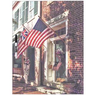Fredericksburg VA - Street With American Flags Dry Erase Board
