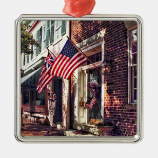 Fredericksburg VA - Street With American Flags Metal Ornament