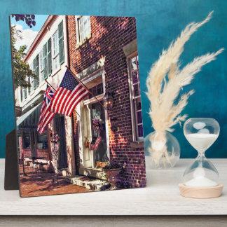Fredericksburg VA - Street With American Flags Plaque