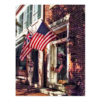 Fredericksburg VA - Street With American Flags Postcard