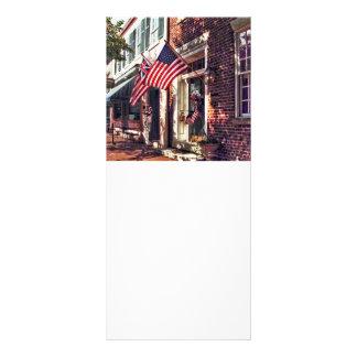 Fredericksburg VA - Street With American Flags Rack Card