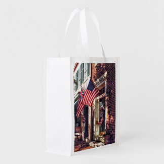 Fredericksburg VA - Street With American Flags Reusable Grocery Bag